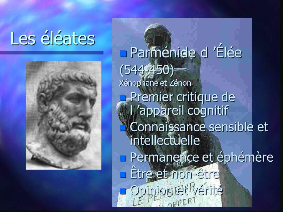 Les éléates Parménide d 'Élée (544-450)