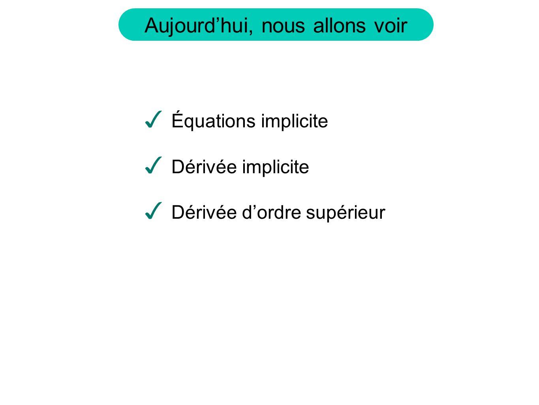Équations implicite Dérivée implicite Dérivée d'ordre supérieur