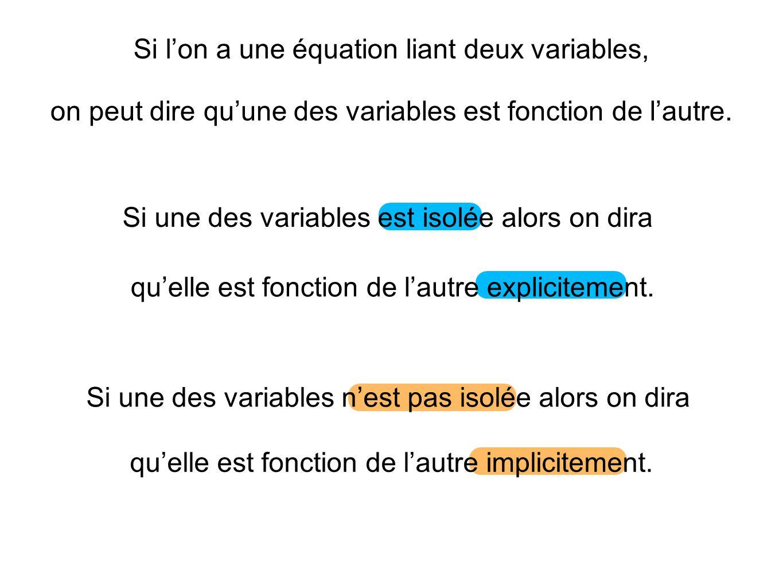 Si l'on a une équation liant deux variables,