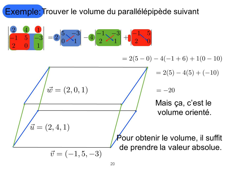 Exemple: Trouver le volume du parallélépipède suivant