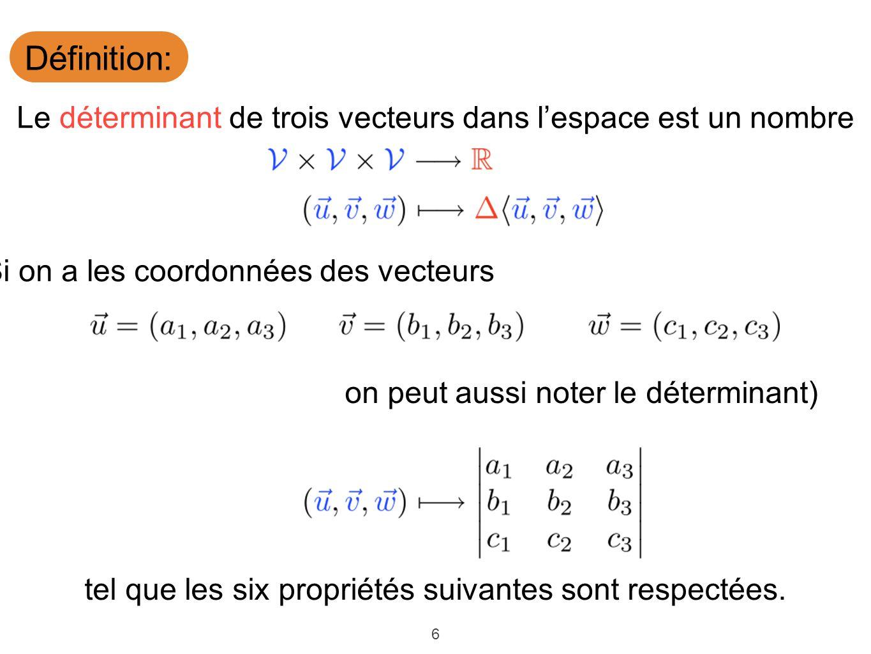 Définition: Le déterminant de trois vecteurs dans l'espace est un nombre. (Si on a les coordonnées des vecteurs.