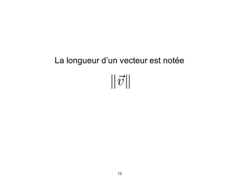 La longueur d'un vecteur est notée