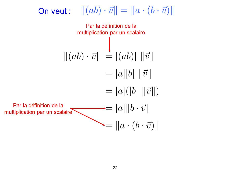 On veut : Par la définition de la multiplication par un scalaire