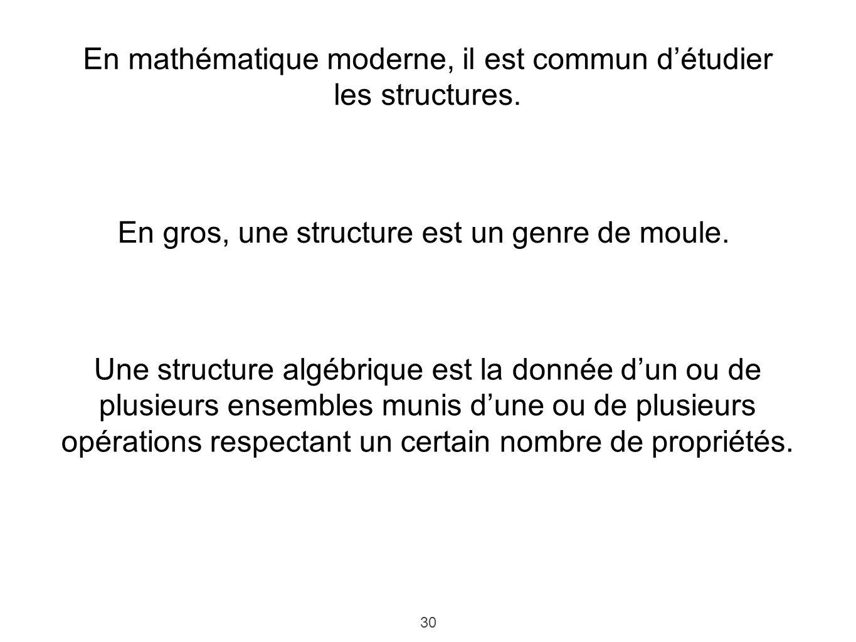 En mathématique moderne, il est commun d'étudier les structures.