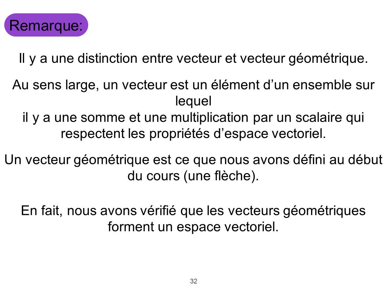 Remarque: Il y a une distinction entre vecteur et vecteur géométrique.