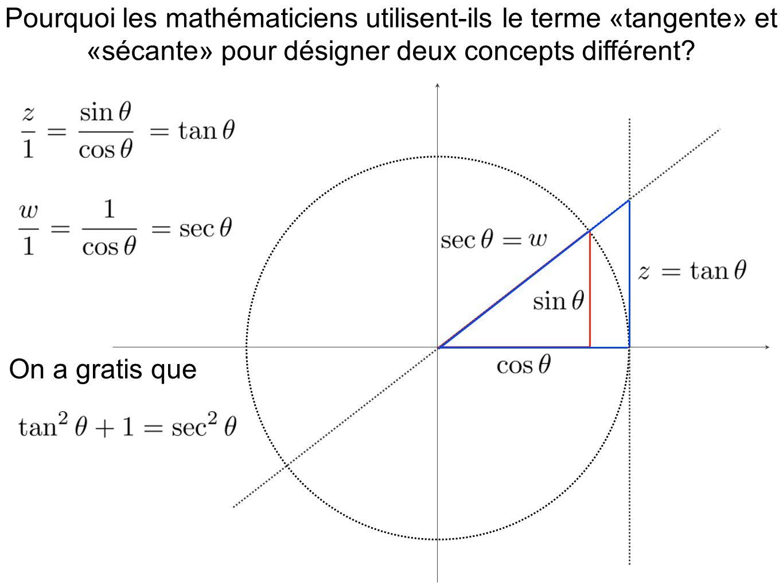 Pourquoi les mathématiciens utilisent-ils le terme «tangente» et