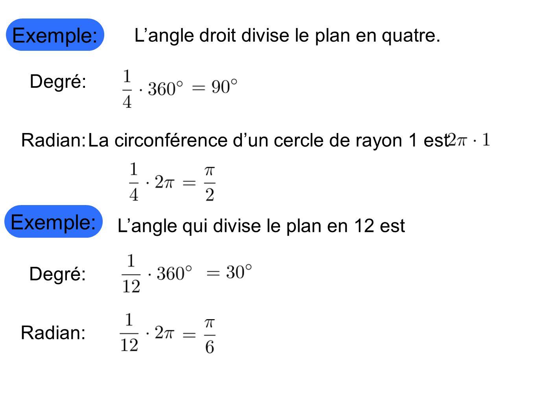 Exemple: Exemple: L'angle droit divise le plan en quatre. Degré: