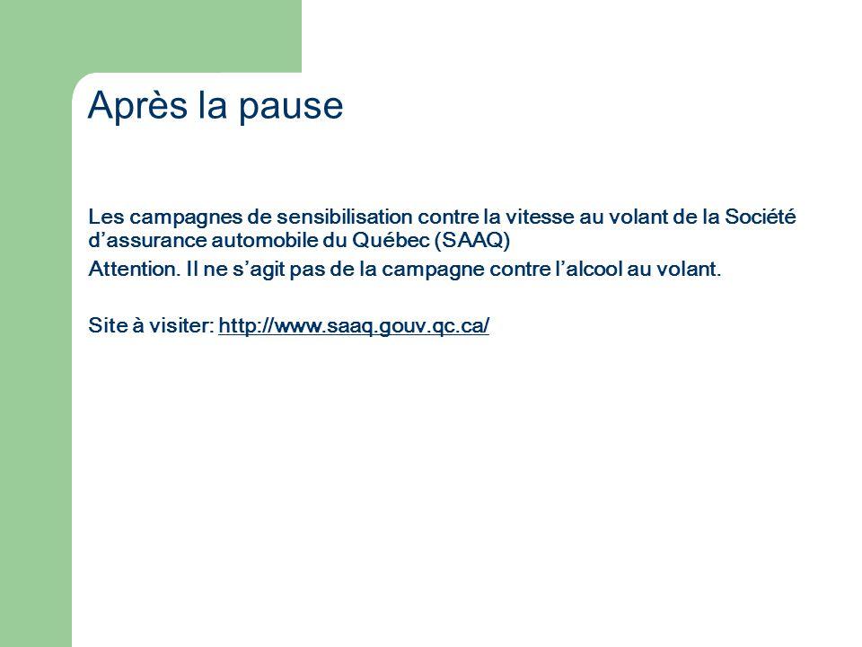 Après la pause Les campagnes de sensibilisation contre la vitesse au volant de la Société d'assurance automobile du Québec (SAAQ)