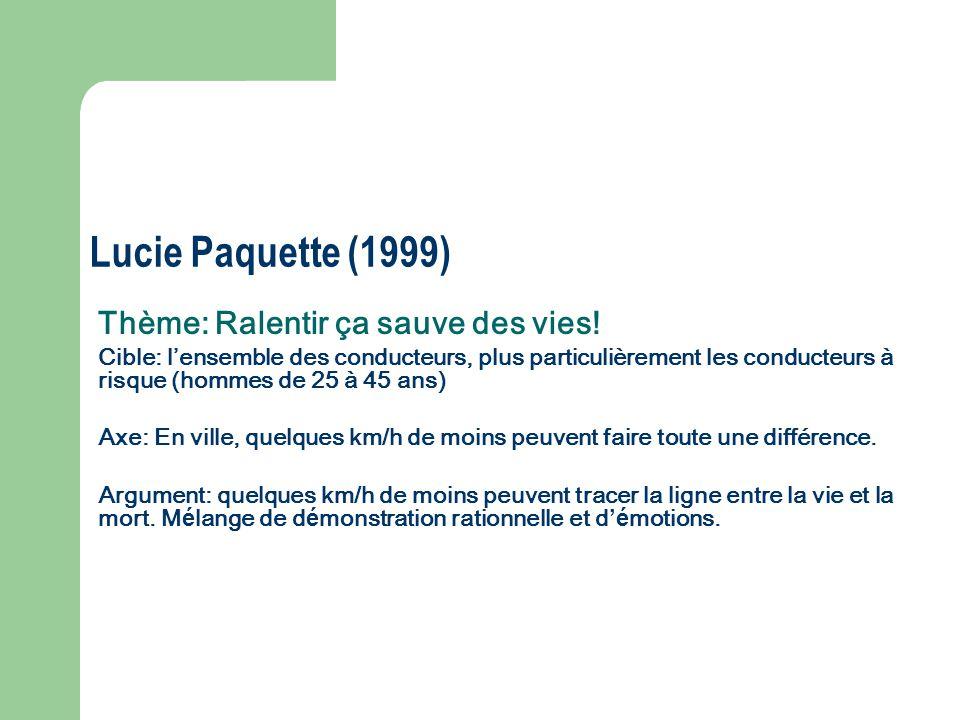 Lucie Paquette (1999) Thème: Ralentir ça sauve des vies!