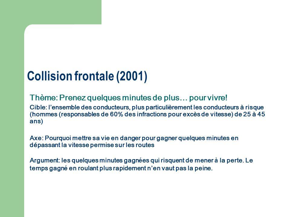 Collision frontale (2001) Thème: Prenez quelques minutes de plus… pour vivre!