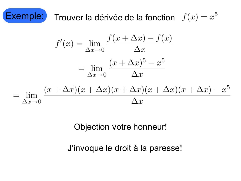 Exemple: Trouver la dérivée de la fonction Objection votre honneur!