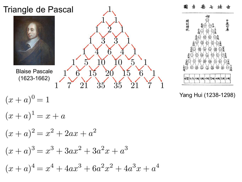 Triangle de Pascal Blaise Pascale (1623-1662) Yang Hui (1238-1298)