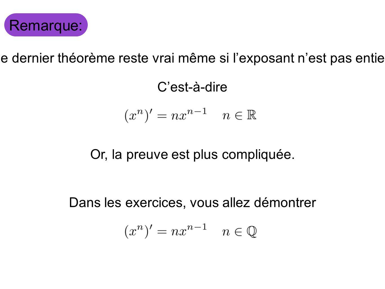 Remarque: Le dernier théorème reste vrai même si l'exposant n'est pas entier. C'est-à-dire. Or, la preuve est plus compliquée.