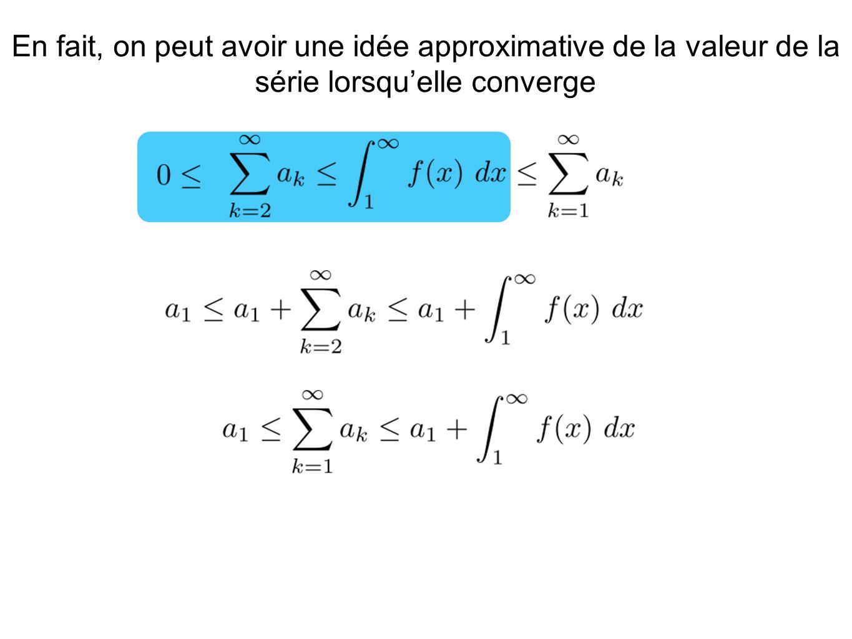En fait, on peut avoir une idée approximative de la valeur de la série lorsqu'elle converge
