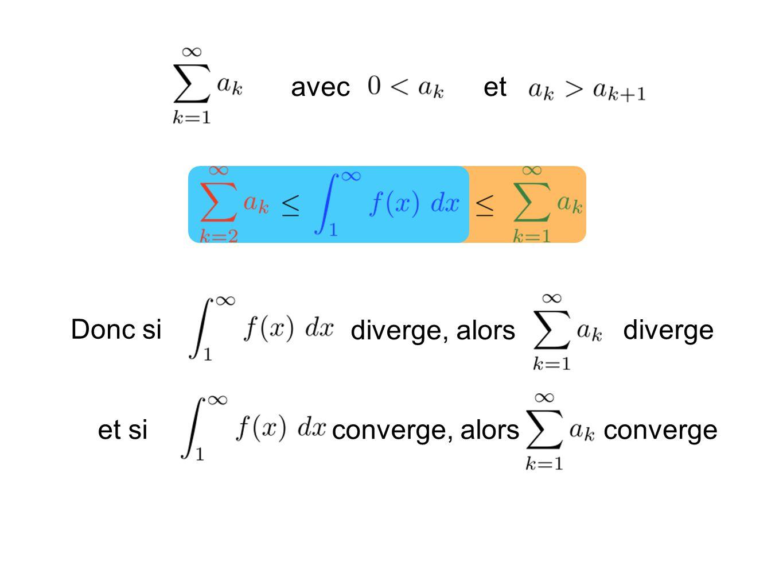 avec et Donc si diverge, alors diverge et si converge, alors converge
