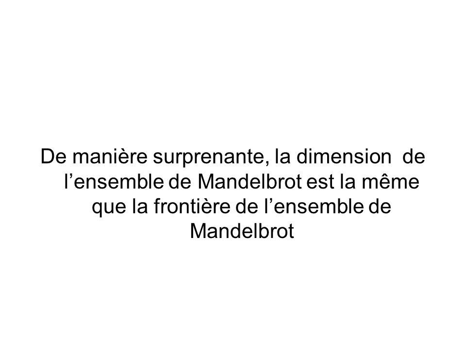De manière surprenante, la dimension de l'ensemble de Mandelbrot est la même que la frontière de l'ensemble de Mandelbrot