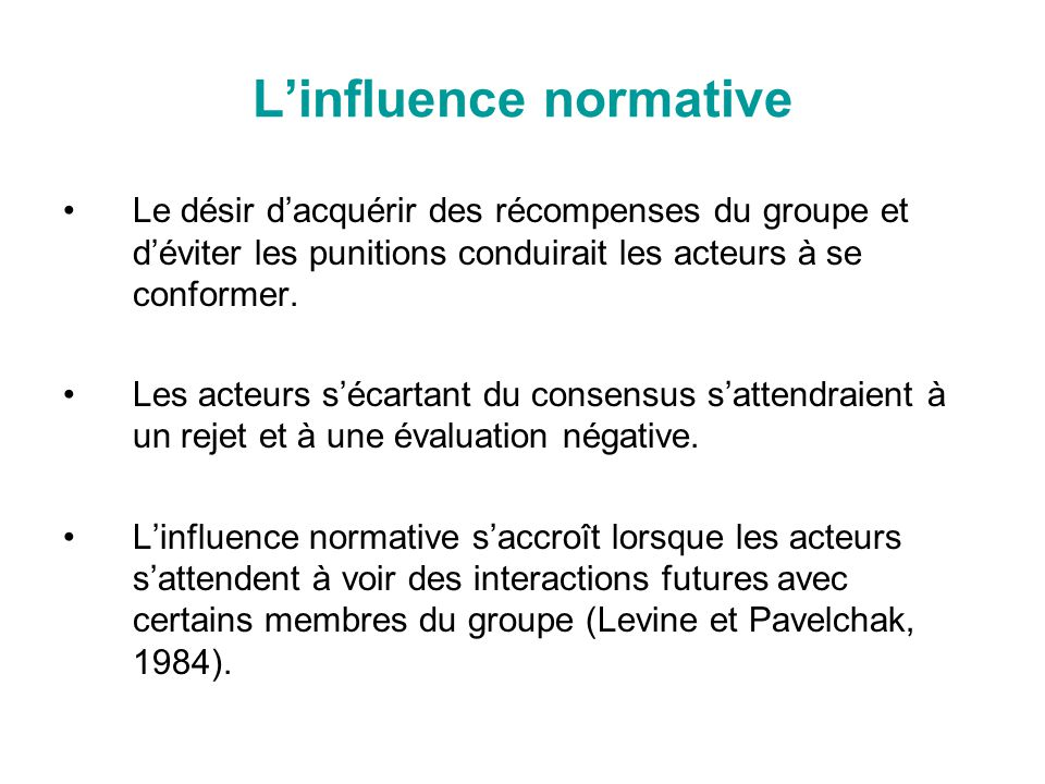 L'influence normative