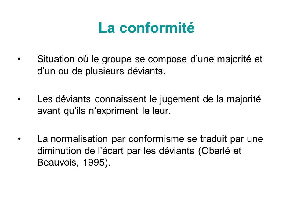 La conformité Situation où le groupe se compose d'une majorité et d'un ou de plusieurs déviants.