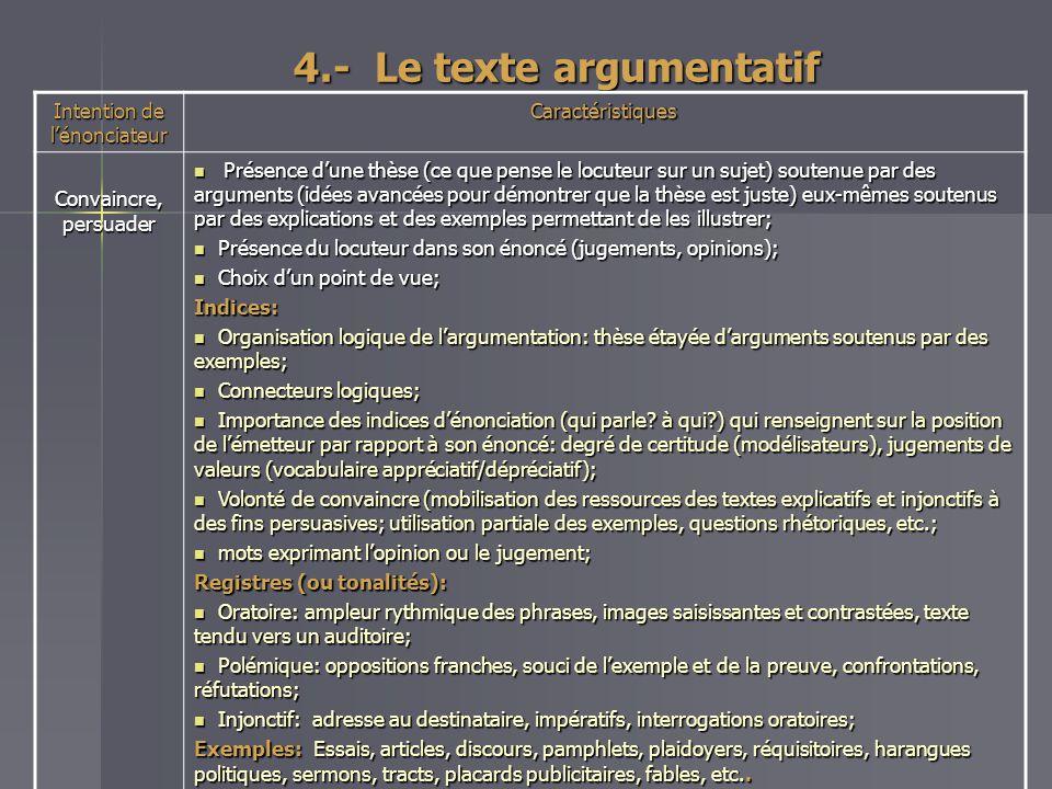 4.- Le texte argumentatif