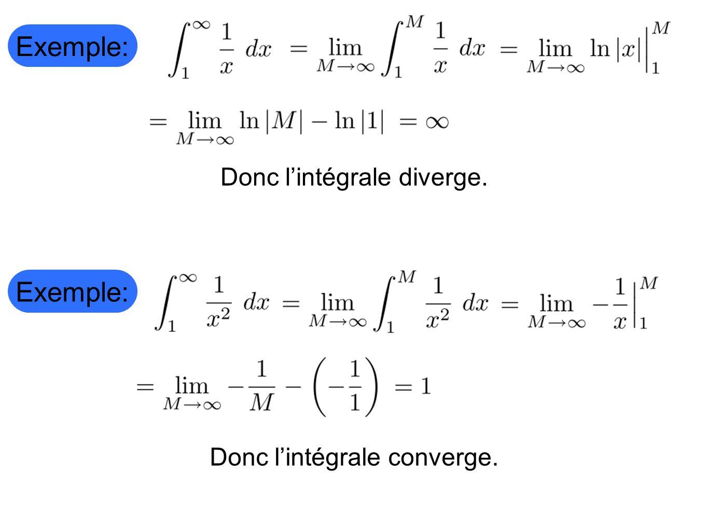 Exemple: Donc l'intégrale diverge. Exemple: Donc l'intégrale converge.