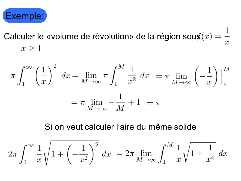 Exemple: Calculer le «volume de révolution» de la région sous