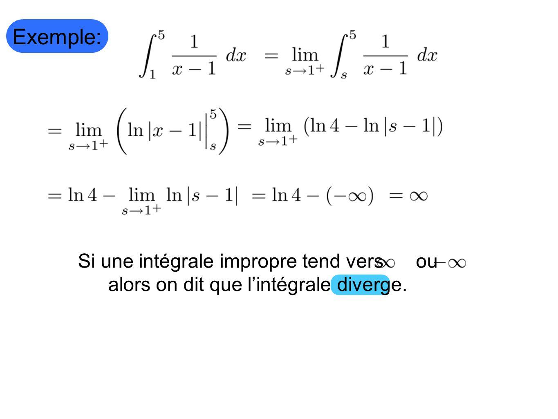 Exemple: Si une intégrale impropre tend vers ou