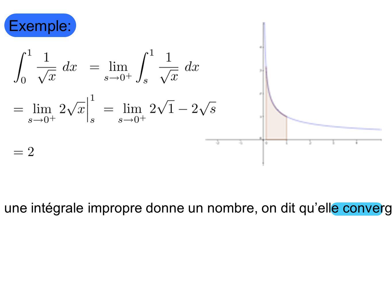 Si une intégrale impropre donne un nombre, on dit qu'elle converge.