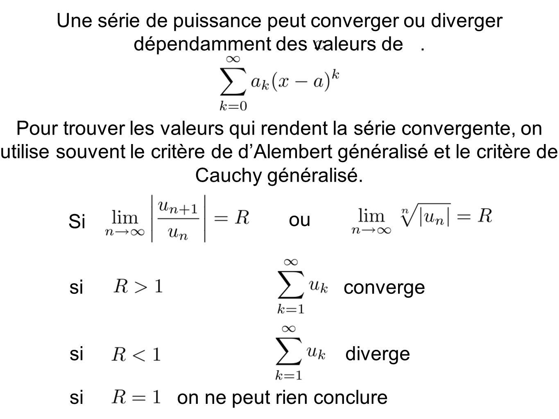 Une série de puissance peut converger ou diverger dépendamment des valeurs de .