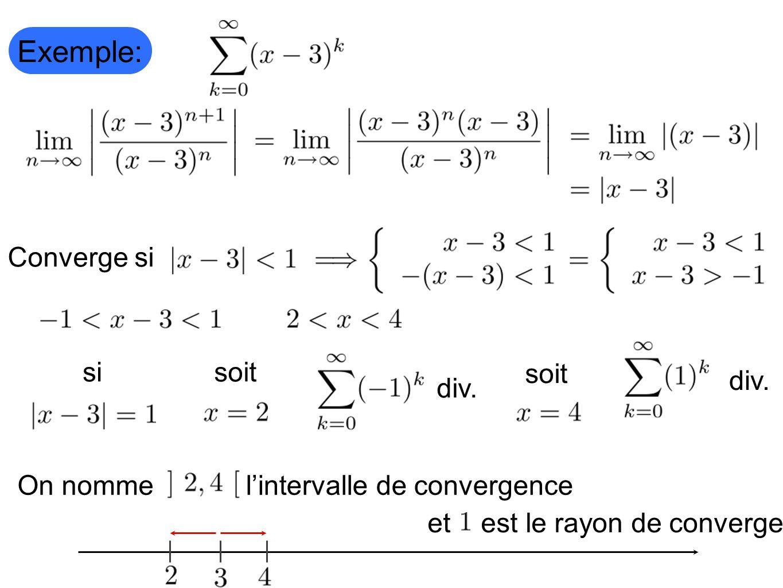 l'intervalle de convergence