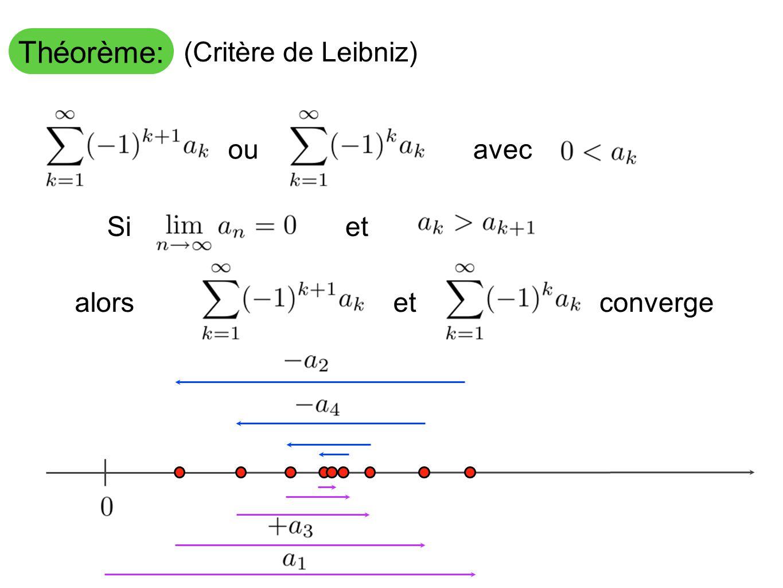 Théorème: (Critère de Leibniz) ou avec Si et alors et converge
