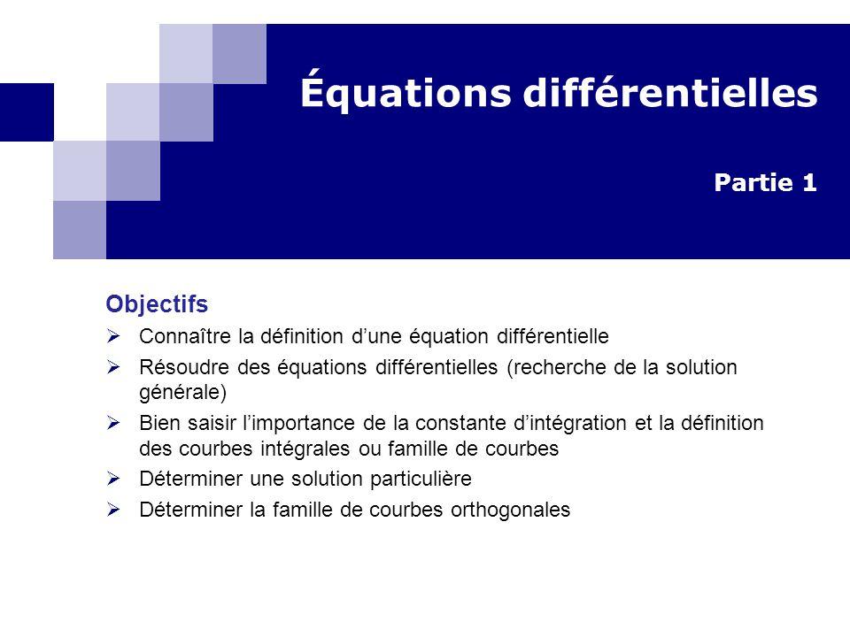 Équations différentielles Partie 1