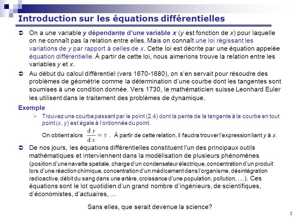 Introduction sur les équations différentielles