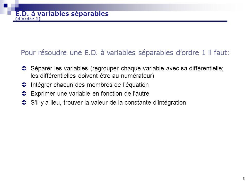 E.D. à variables séparables (d'ordre 1)
