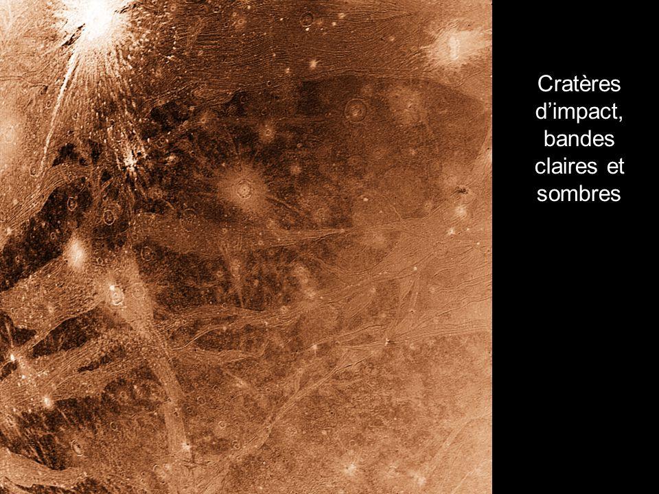 Cratères d'impact, bandes claires et sombres