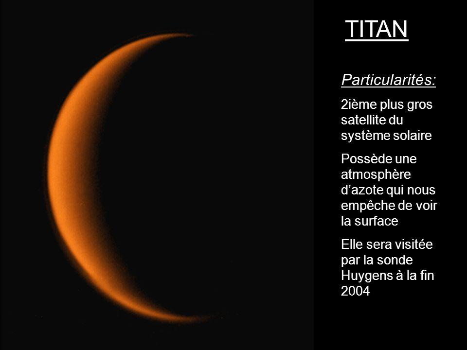 TITAN Particularités: 2ième plus gros satellite du système solaire