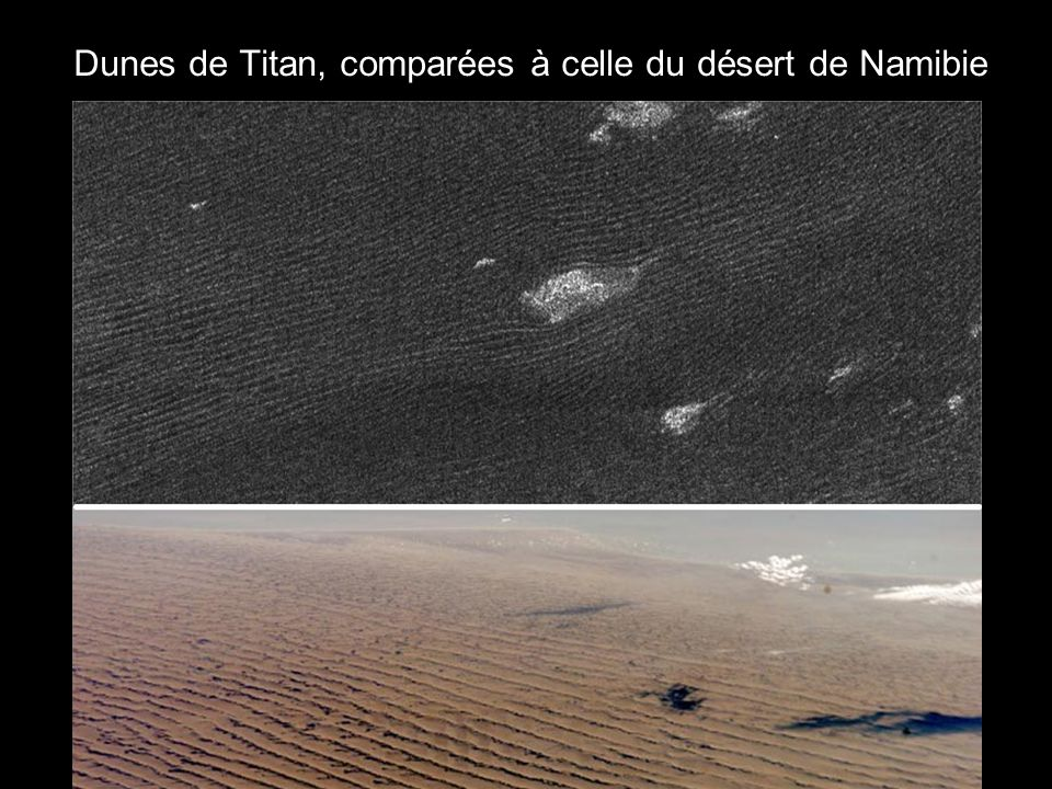 Dunes de Titan, comparées à celle du désert de Namibie