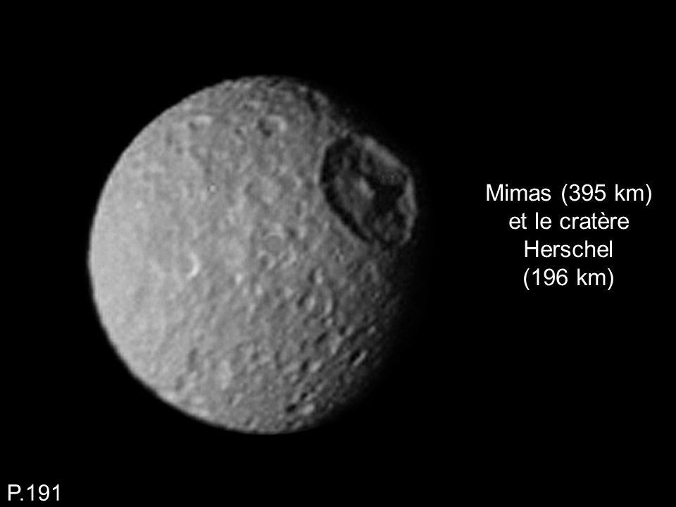 Mimas (395 km) et le cratère Herschel (196 km)