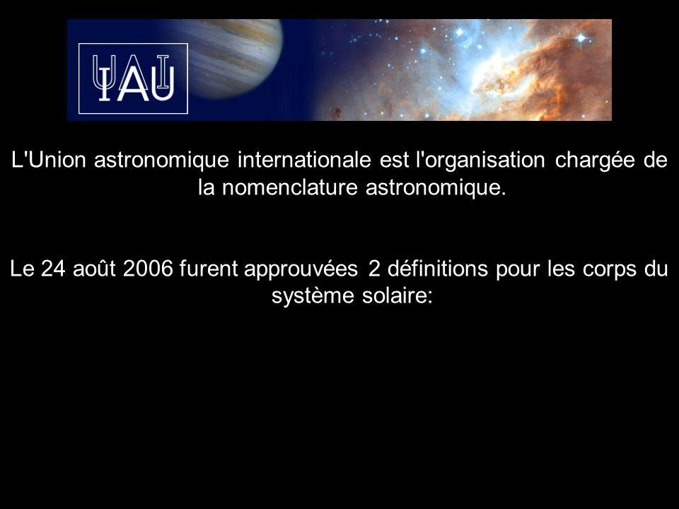 L Union astronomique internationale est l organisation chargée de la nomenclature astronomique.
