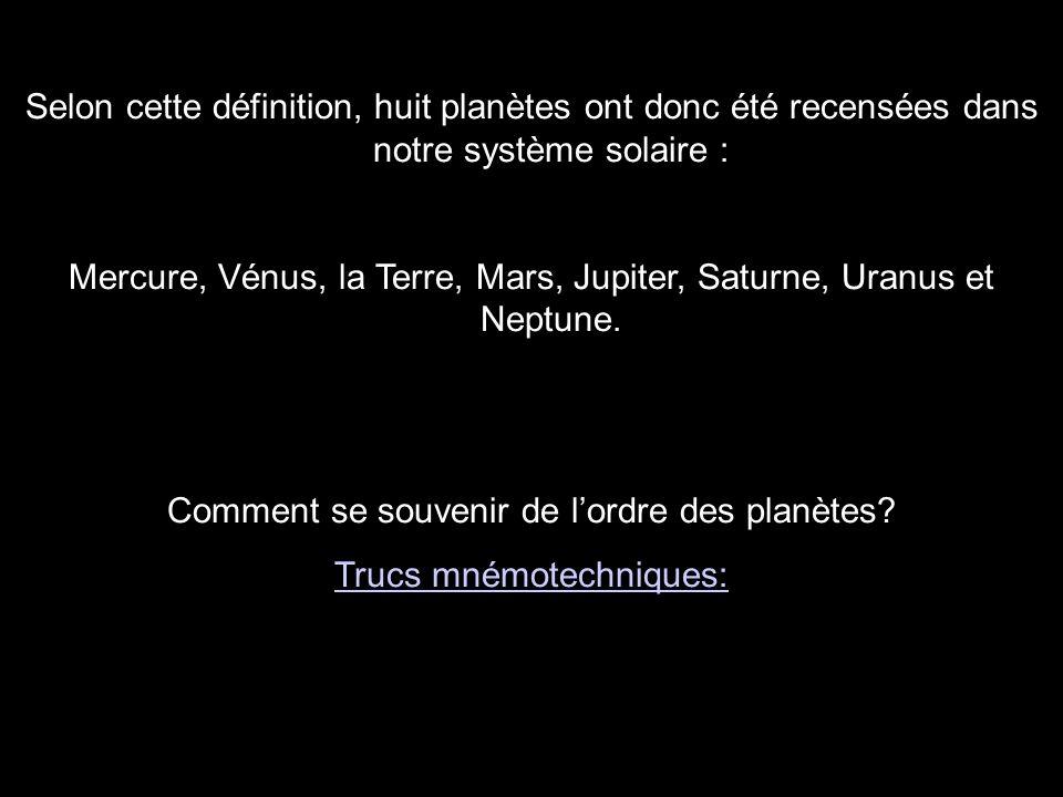 Mercure, Vénus, la Terre, Mars, Jupiter, Saturne, Uranus et Neptune.