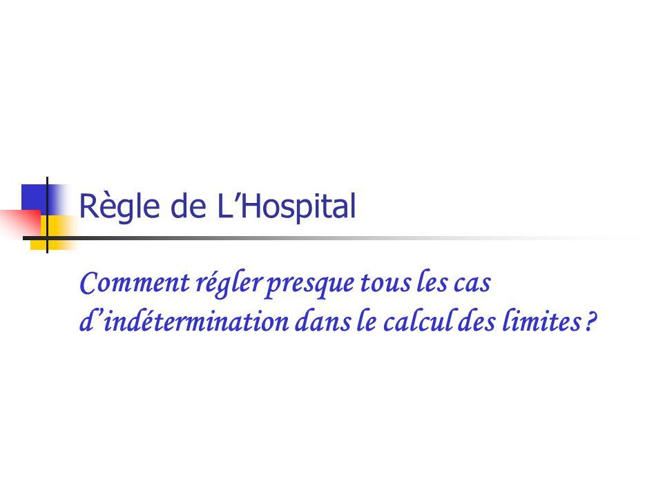 Règle de L'Hospital Comment régler presque tous les cas d'indétermination dans le calcul des limites