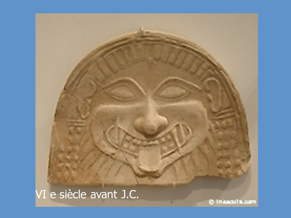 Antiquités grecques Sculpture (Masque) Fin de la période archaïque Matériaux : Terre cuite peinte Date : VIème siècle avant J.C. Artiste : Anonyme