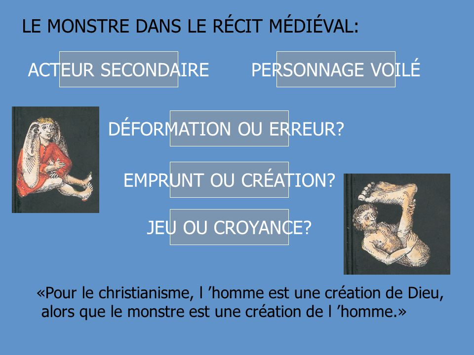 LE MONSTRE DANS LE RÉCIT MÉDIÉVAL: