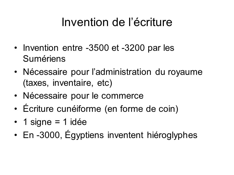 Invention de l'écriture