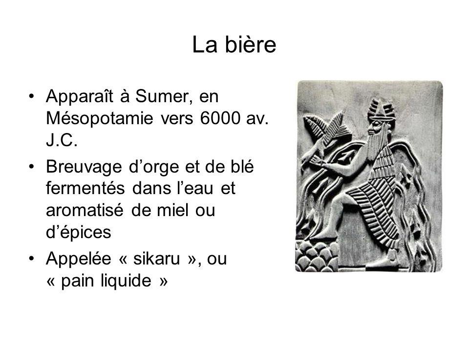 La bière Apparaît à Sumer, en Mésopotamie vers 6000 av. J.C.