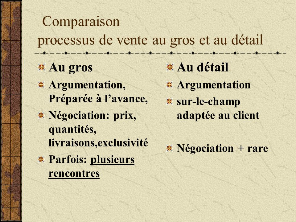 Comparaison processus de vente au gros et au détail