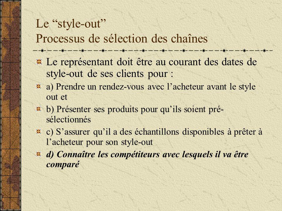 Le style-out Processus de sélection des chaînes