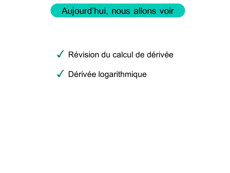 Révision du calcul de dérivée