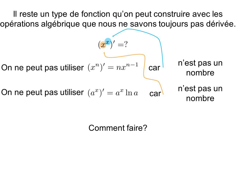 Il reste un type de fonction qu'on peut construire avec les opérations algébrique que nous ne savons toujours pas dérivée.