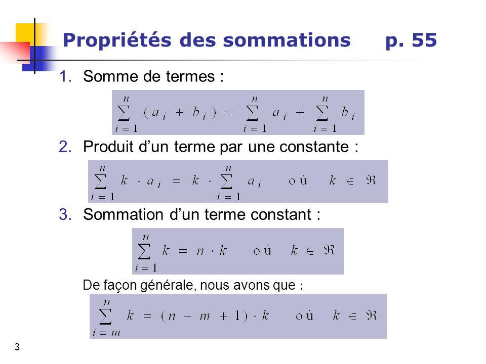 Propriétés des sommations p. 55