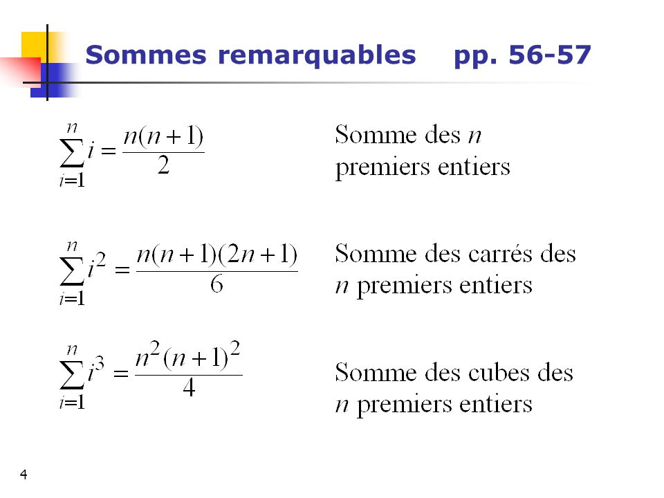 Sommes remarquables pp. 56-57